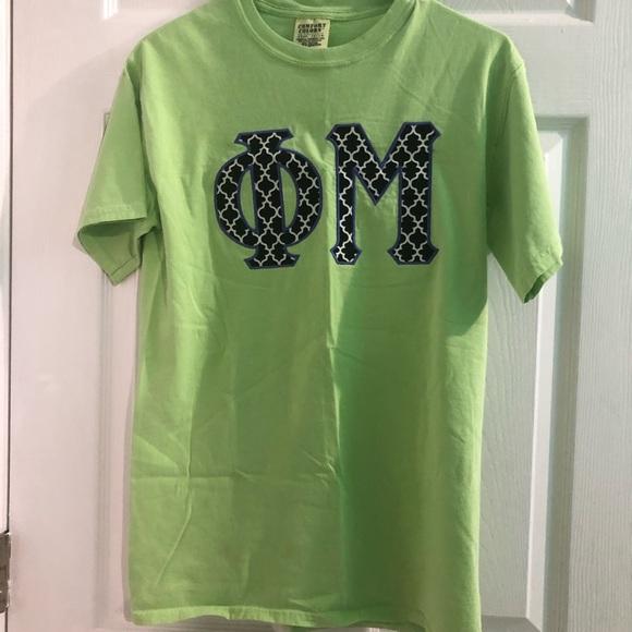 Comfort Colors Tops - Phi Mu letter shirt